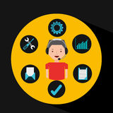 Man red tshirt support operator assistance. Vector illustration eps 10 Royalty Free Stock Images