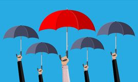 Man with red umbrella in the crowd royalty free illustration