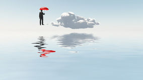 Man with red umbrella Royalty Free Stock Photo