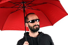 Man with red umbrella Royalty Free Stock Photography