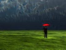 Man with red umbrella royalty free illustration