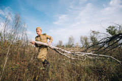 Man Reenactor Dressed As Russian Soviet Red Army Infantry Soldier Royalty Free Stock Photography