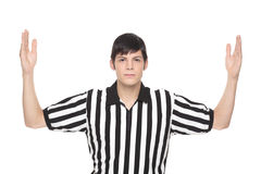 Man in referee uniform making touchdown sign Royalty Free Stock Photography