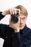 Man with reflex camera Royalty Free Stock Photography