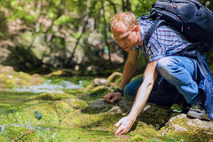 Man refreshing face with water. Man refreshing face with water from forest brook Stock Image