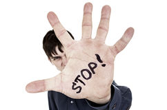 Man with Refusal Gesture Stock Image