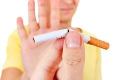 Man refuse a Cigarette. Man refuse Cigarette Isolated on the White Background Royalty Free Stock Image
