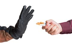 Man refused the offer of a cigarette Stock Images