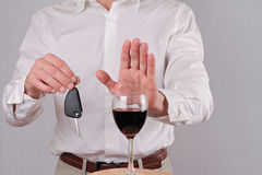 Man refuses to drink wine. Don't drink and drive concept Royalty Free Stock Photo