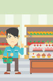 Man refusing junk food vector illustration. Royalty Free Stock Photos