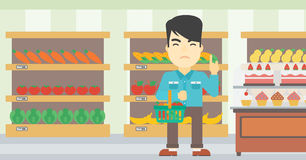 Man refusing junk food vector illustration. Royalty Free Stock Photography