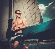 Man on a regatta Royalty Free Stock Photo