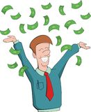 Man rejoice at getting money Stock Image