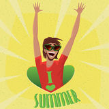 Man rejoices arrival of summer Stock Images