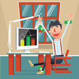 Man rejoices profits cartoon vector Stock Photography