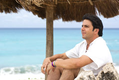 Man relax in cancun beach. Man in vacations in cancun beach Stock Photography