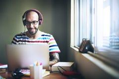 Man Relax Enjoyment Listening Using Laptop Concept Stock Image