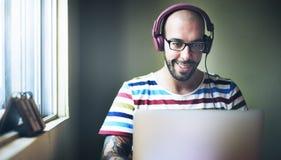 Man Relax Enjoyment Listening Using Laptop Concept Royalty Free Stock Photo