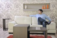 Man relax at home Stock Photos