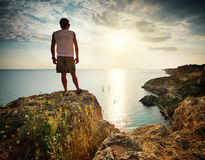Man relax on sea Stock Images