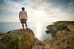 Man relax on sea Stock Photography