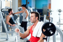 Man relaxed on gym after fitness sport training royalty free stock photo
