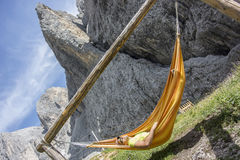 Man relaxes in the hammock Royalty Free Stock Photo
