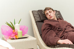 Man relaxes in a spa Stock Photos