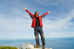 Man Relaxing At Mountain Top Royalty Free Stock Images
