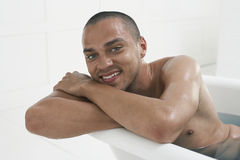Man Relaxing In Bathtub Stock Photo