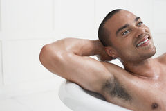 Man Relaxing In Bathtub Stock Photography