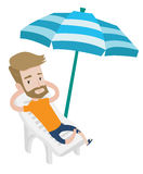 Man relaxing on beach chair vector illustration. Hipster man sitting in a beach chair. Man resting on holiday while sitting under umbrella on a beach chair. Man Stock Image