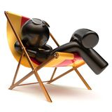 Man relaxing beach deck chair carefree chilling summer rest Stock Image