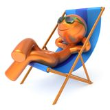 Man relaxing beach deck chair smile cartoon character vacation. Man relaxing beach deck chair smile cartoon character chilling stylized summer sunglass person Stock Image
