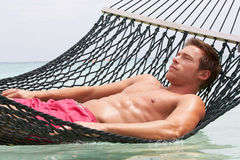 Man Relaxing In Beach Hammock Stock Photos