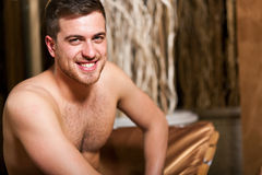Man relaxing in a beauty farm Royalty Free Stock Photography