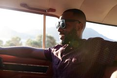 Man Relaxing In Car During Road Trip Royalty Free Stock Photos
