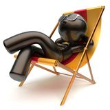 Man relaxing carefree chilling beach deck chair sunglasses. Summer outdoor comfort stylized cartoon black character sun lounger chaise lounge sunbathing rest Royalty Free Stock Image