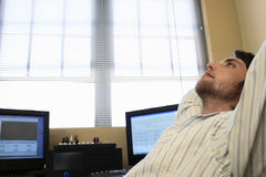 Man Relaxing By Computers Stock Images