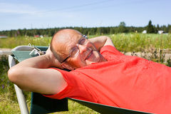 Man relaxing on hammock royalty free stock photos
