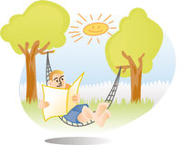 Man relaxing in hammock Royalty Free Stock Images