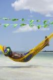 Man Relaxing in Hammock on Brazilian Beach royalty free stock photos