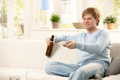 Man relaxing at home Royalty Free Stock Photos