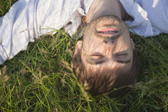 Man Relaxing In Field Royalty Free Stock Image