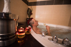 Man relaxing in the jacuzzi Royalty Free Stock Photos