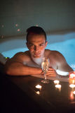 Man relaxing in the jacuzzi Royalty Free Stock Photography