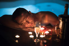 Man relaxing in the jacuzzi Royalty Free Stock Image