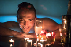 Man relaxing in the jacuzzi Royalty Free Stock Photo