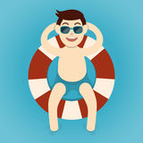 Man relaxing with lifebelt, Summertime. Vector illustration Royalty Free Stock Images