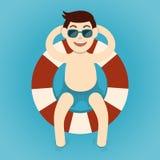 Man relaxing with lifebelt, Summertime. Vector illustration Vector Illustration